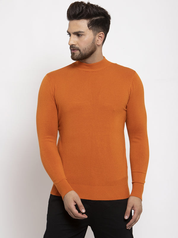 Men Rust Solid T-Neck Pullover