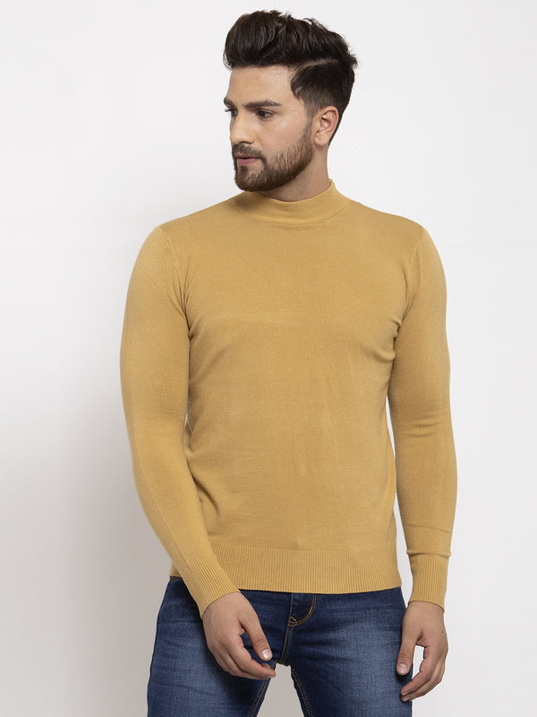 Men Khaki Solid T-Neck Pullover