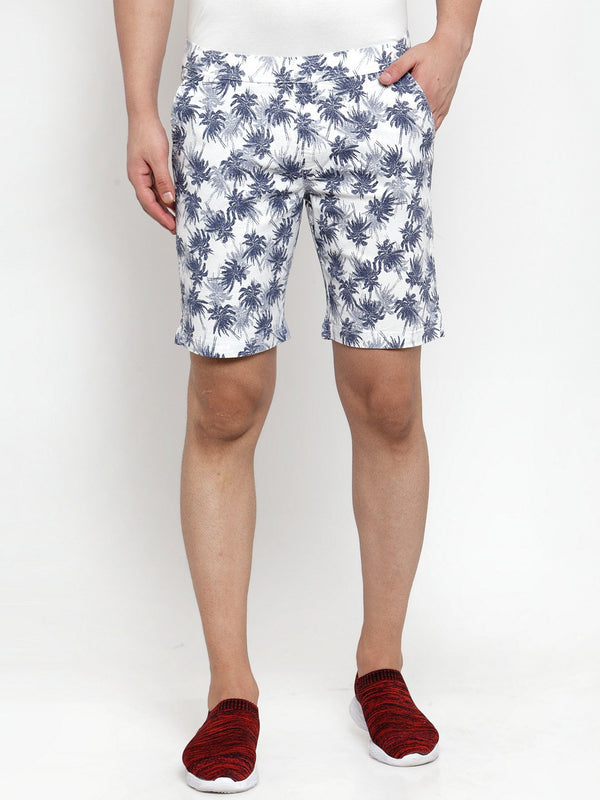 Mens White Cotton Linen Printed Short
