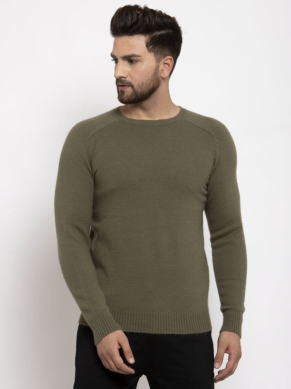 Mens Green Round Neck Solid Alpaca Wool Pullover