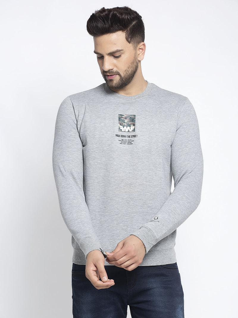 Men Grey Round Neck Solid Sweatshirt