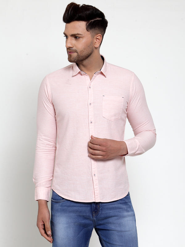 Mens Peach Shirt Collar Solid Shirt