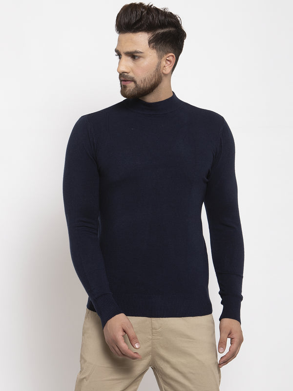 Men Navy Blue Solid T-Neck Pullover