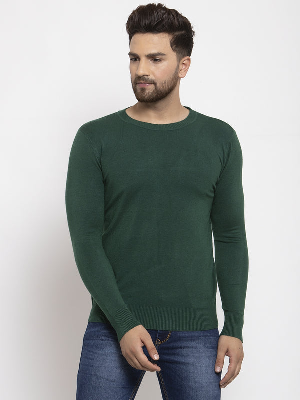 Men Green Solid Round Neck Pullover