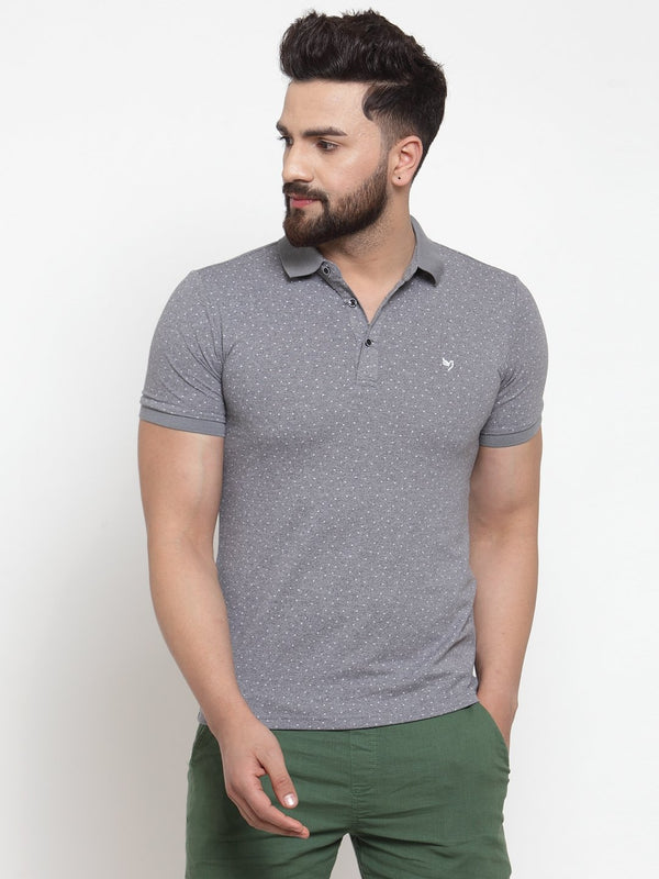 Men Grey Polka Dot Printed Polo T-Shirt
