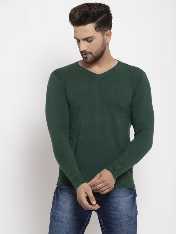 Men Green Solid V-Neck Pullover