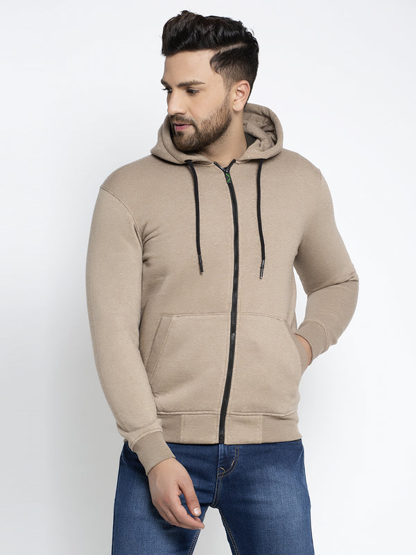 Men Solid Khaki Zipper Hoodie Sweatshirt