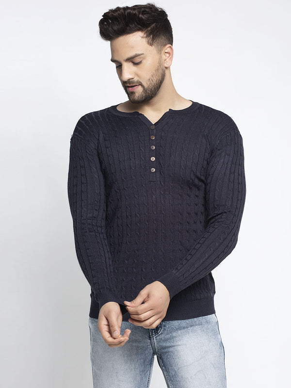 Men Blue Mandarian Collar Solid Pullover
