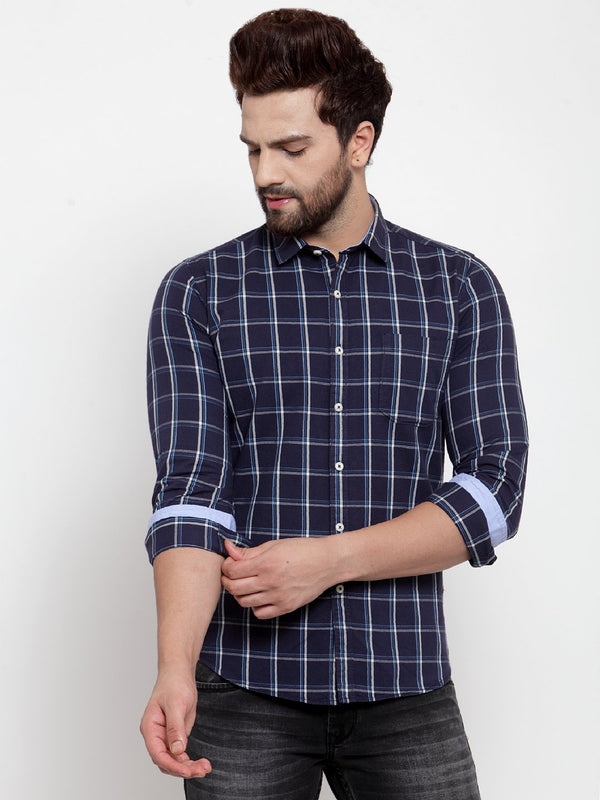 Men Dark Blue Checked Regular Fitted Shirt
