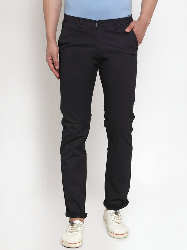 Mens Solid Navy Blue Cotton Trouser