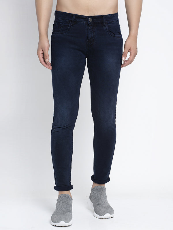 Mens Navy Blue Solid Jeans