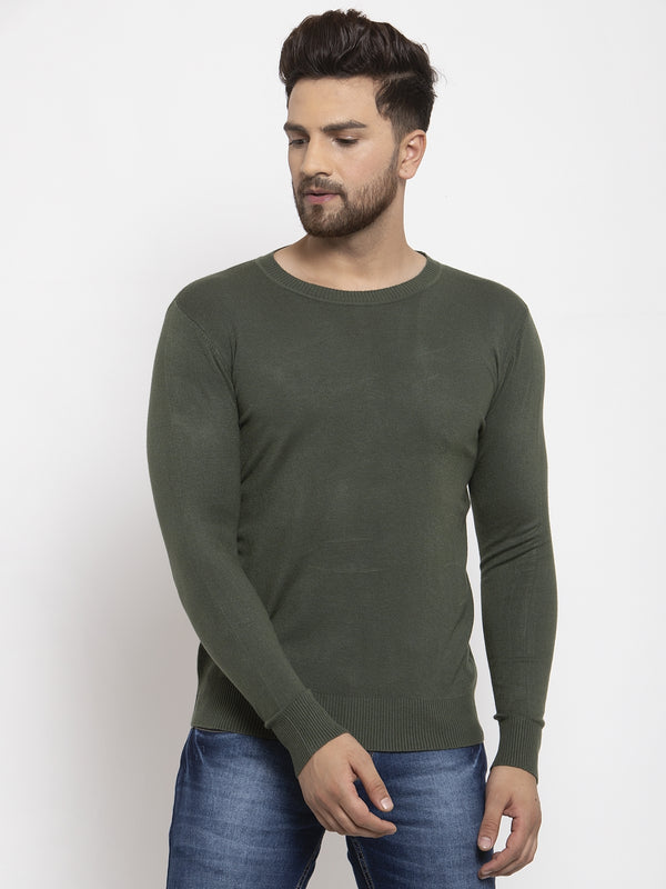Men Olive Solid Round Neck Pullover
