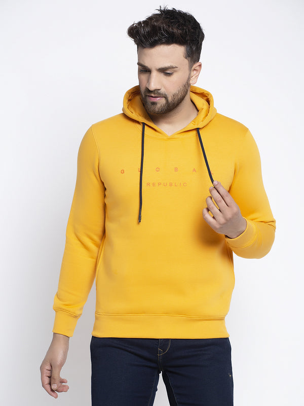 Men Basic Yellow Hoodie Sweatshirt