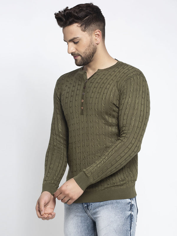 Men Green Mandarian Collar Solid Pullover