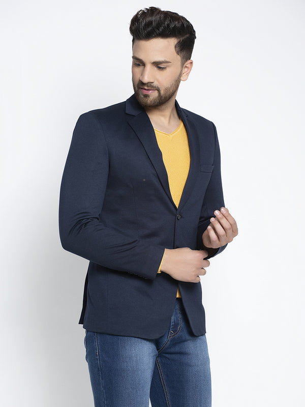 Mens Navy Blue Long Sleeves Coat
