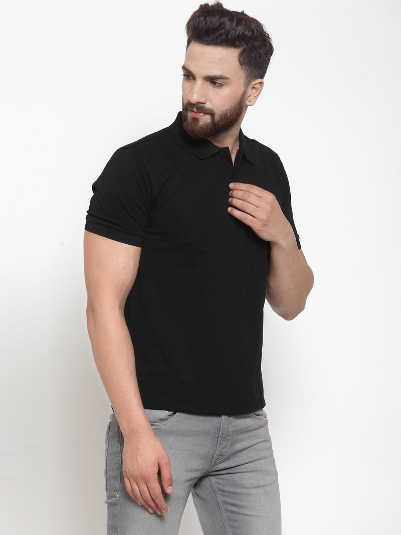 Mens Plain Grey And Black Combo Of 2 Polo T-Shirts