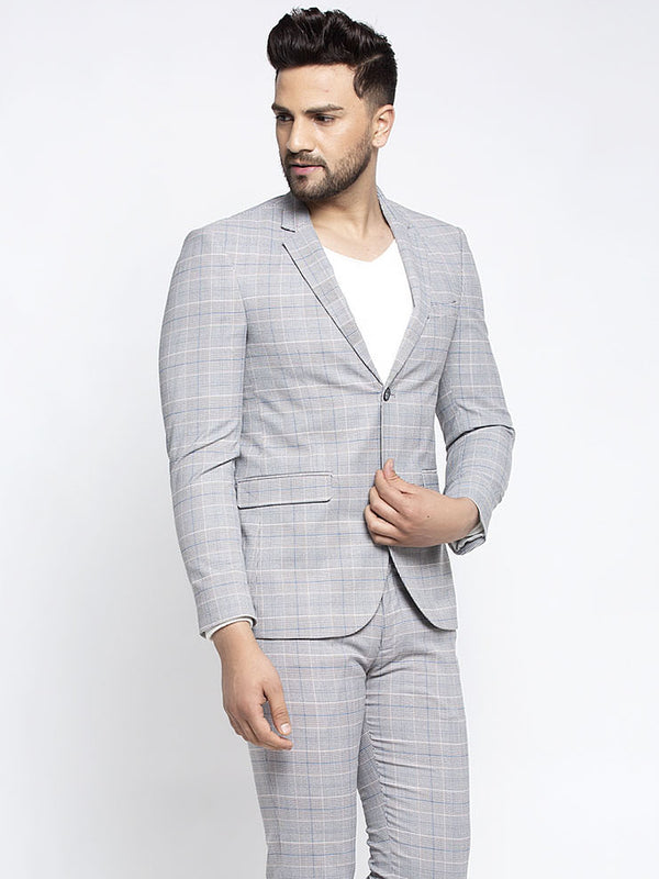 Men Grey Notched Lapel Checked Coat