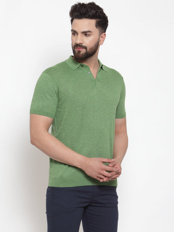 Mens Green Collar Regular Fit T-Shirt