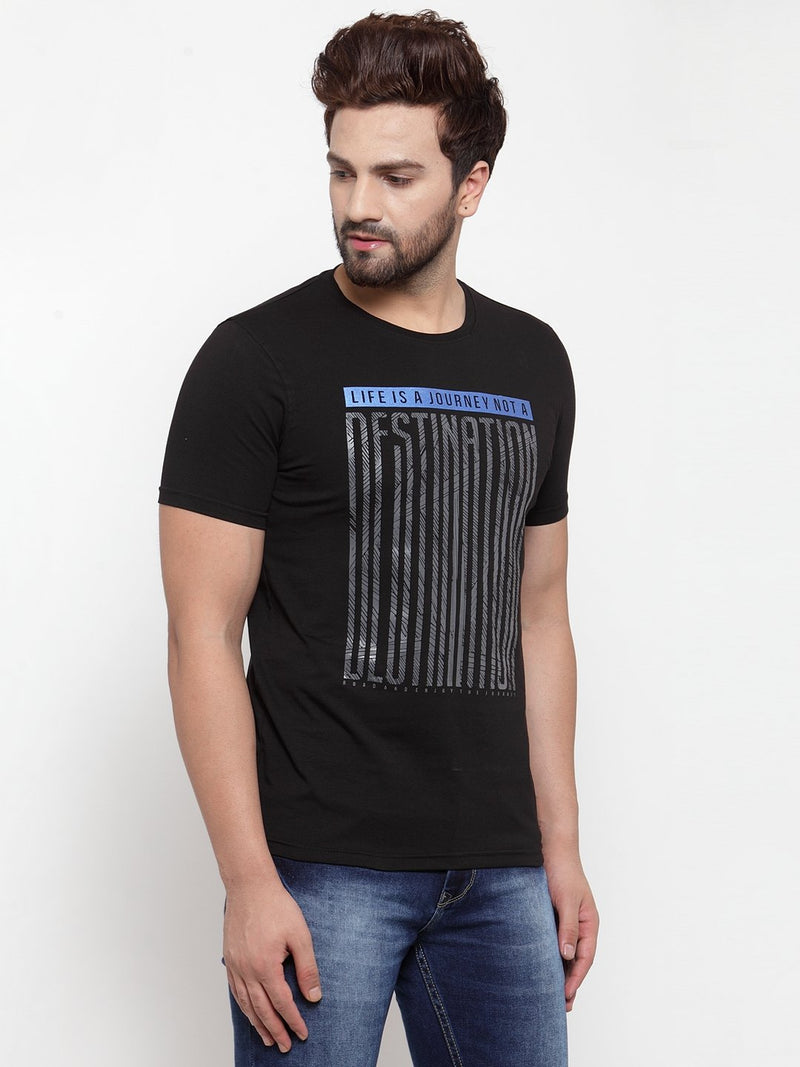 Mens Black Round Neck Printed T-Shirt