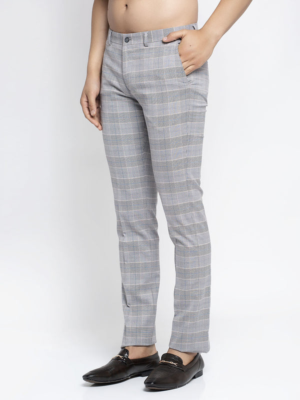 Men Grey Checked Trouser