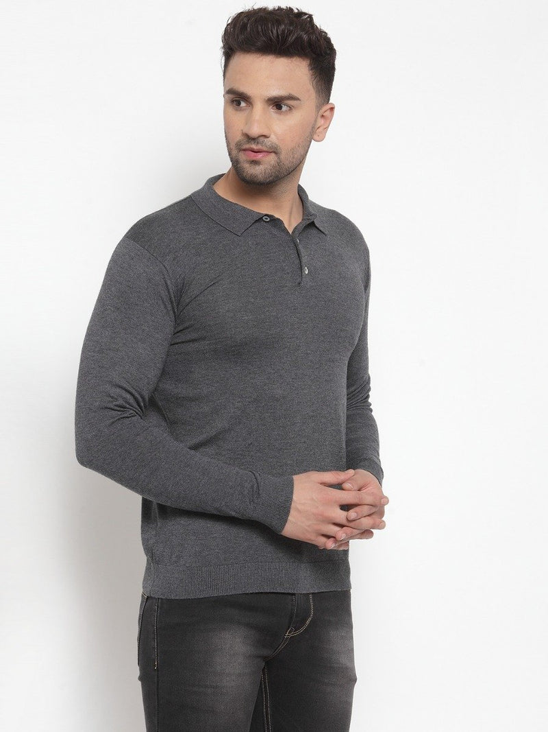 Mens Solid Grey Collar Neck Pullover