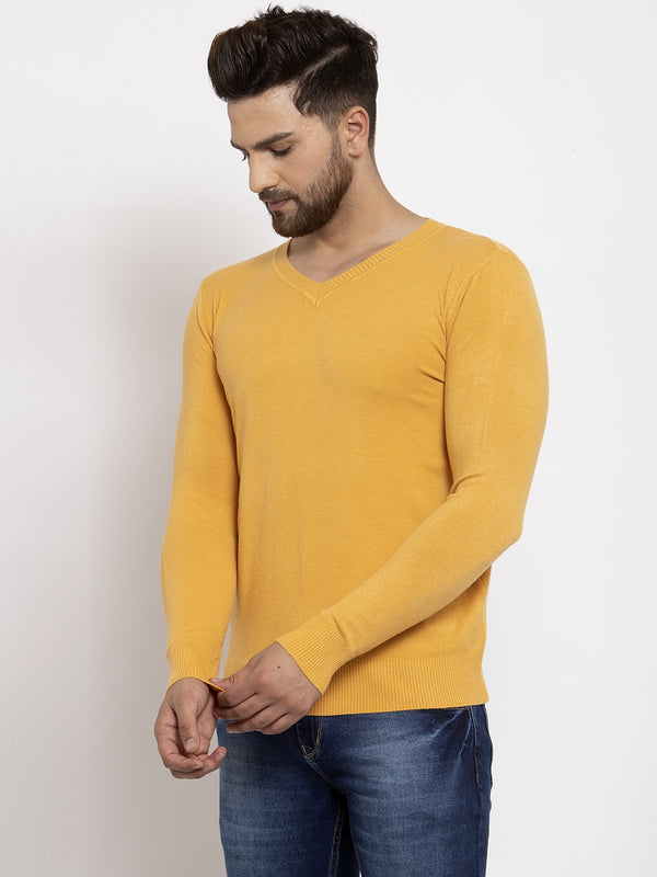 Men Mustard Solid V-Neck Pullover