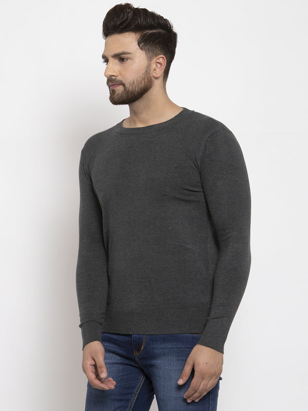 Men Grey Solid Round Neck Pullover