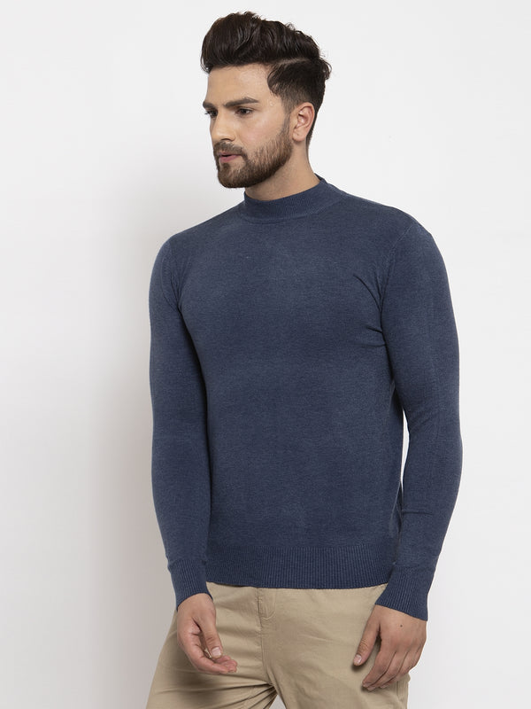 Men Blue Solid T-Neck Pullover