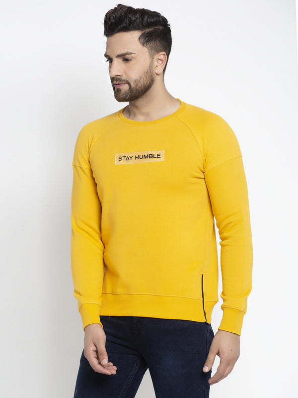 "Men Mustard Round Neck ""Stay Humble"" Sweatshirt"