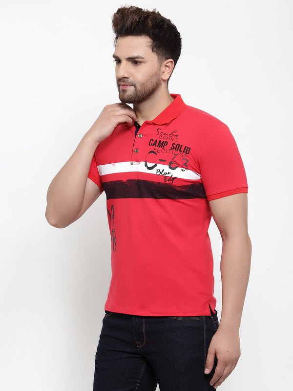 Men Red Shirt Collar Printed T-Shirt