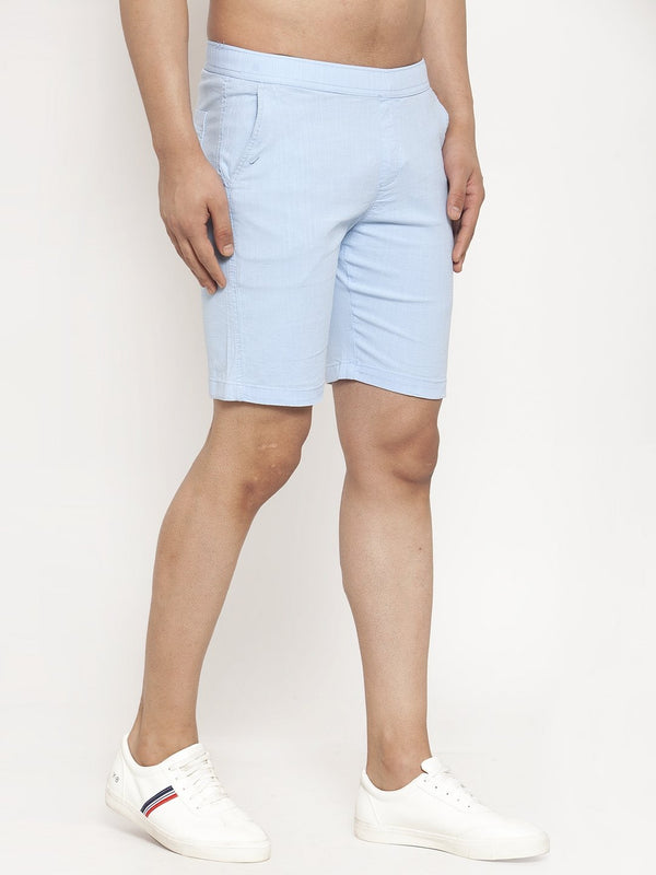 Men'S Sky Blue Cotton Linen Shorts