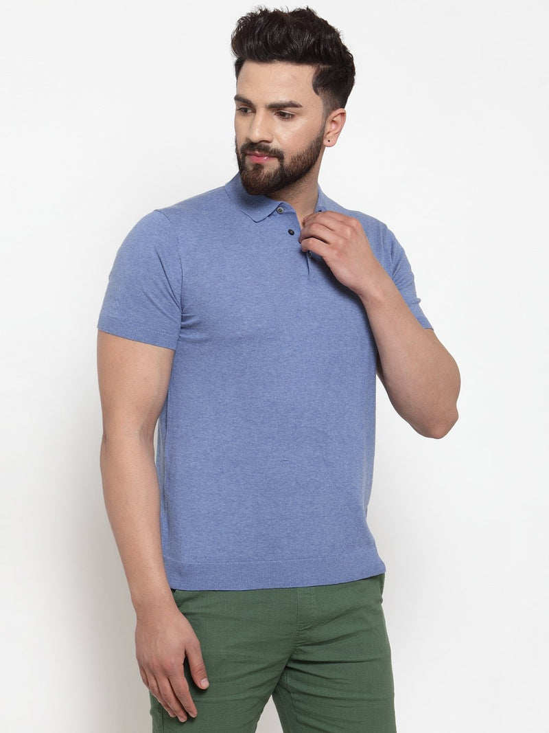 Mens Blue Collar Regular Fit T-Shirt