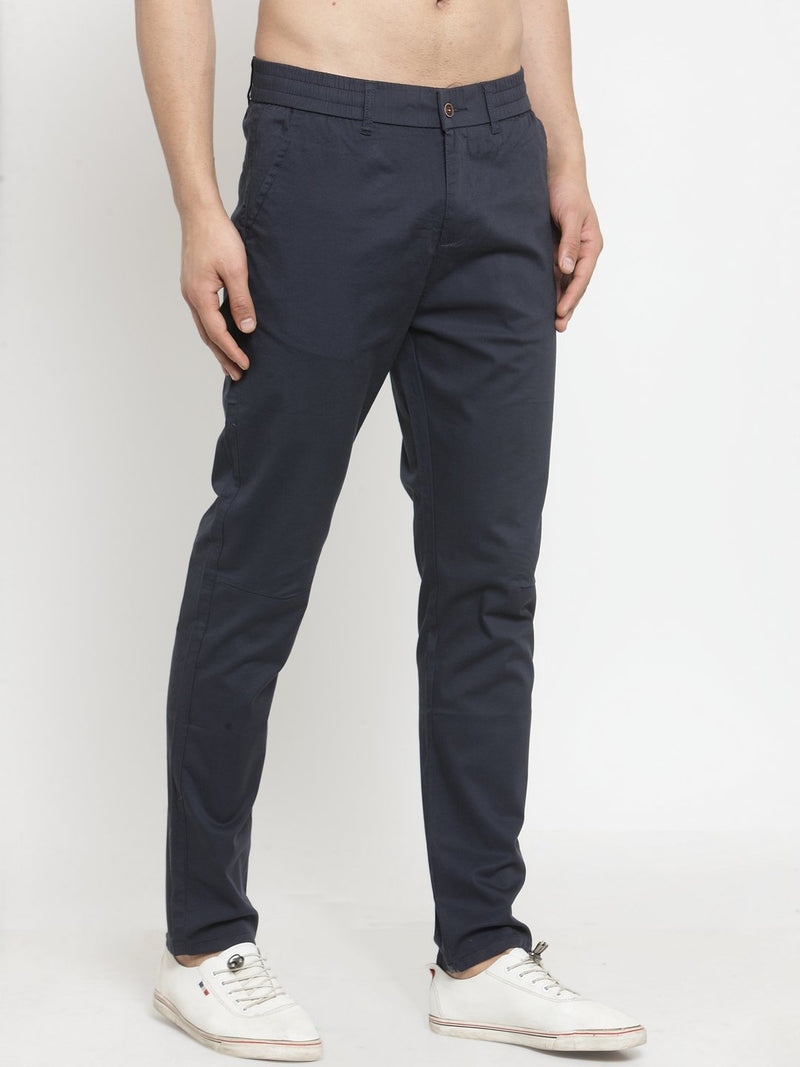 Mens Navy Blue Solid Regular Fit Trouser