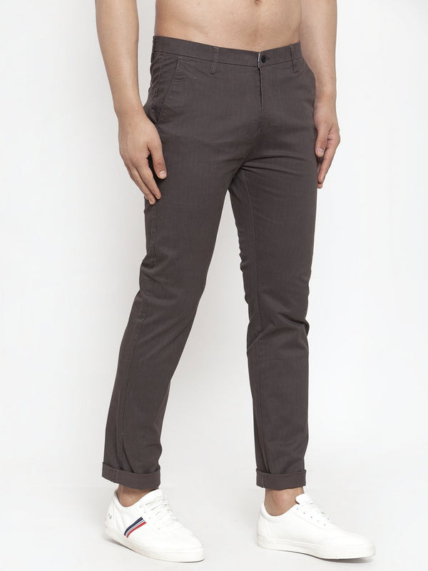 Mens Solid Chocolate Brown Cotton Trouser