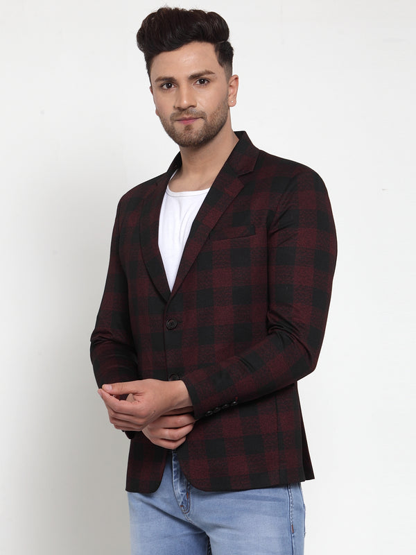 Mens Maroon Notched Lapel Checked Coat