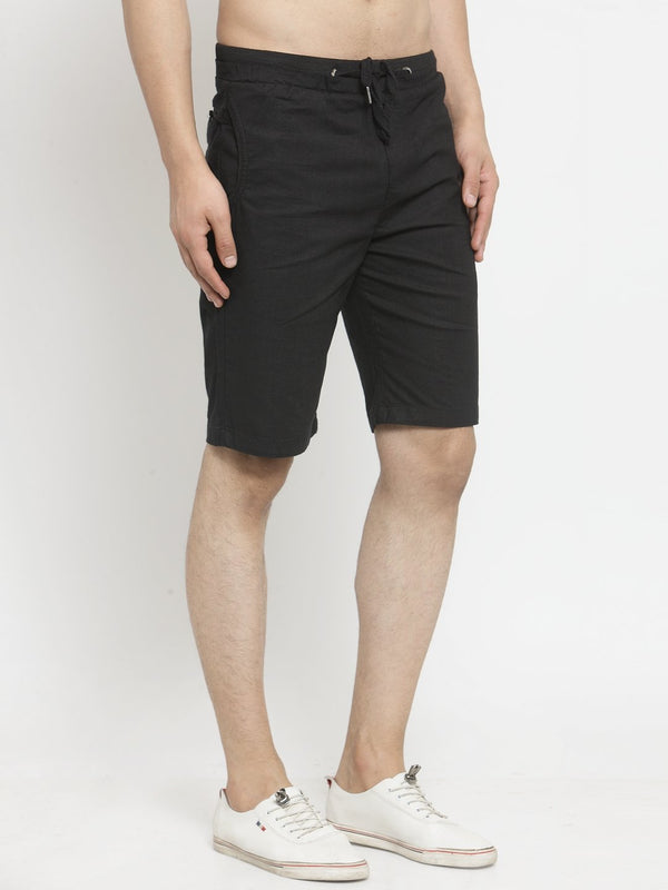 Mens Black Solid Regular Fit Shorts