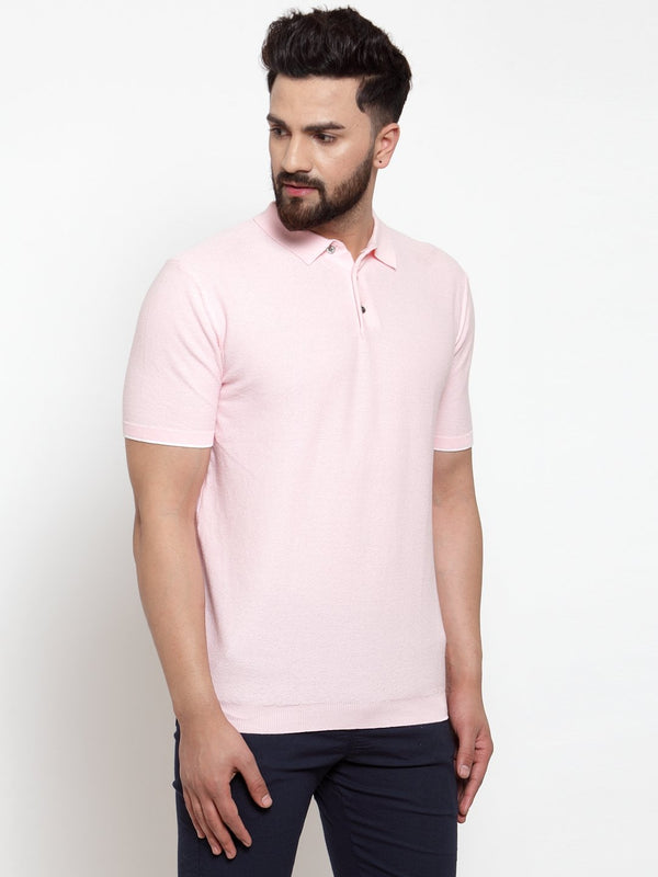 Mens Pink Collar Regular Fit T-Shirt