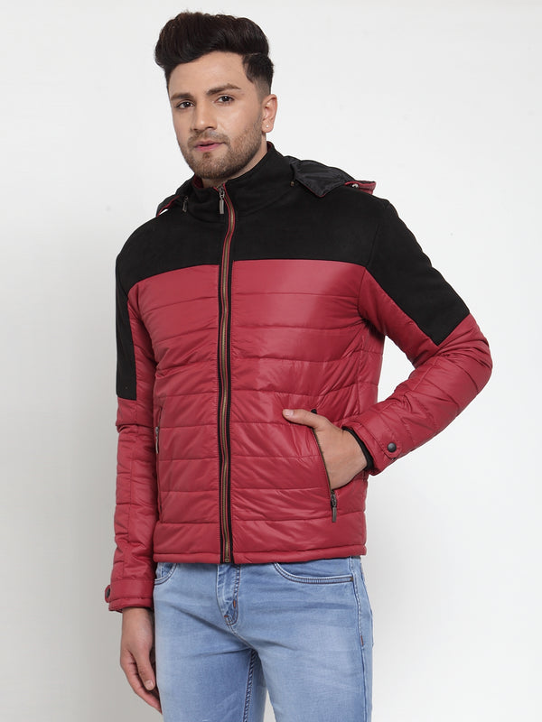 Mens Maroon Hooded Puffer Jacket