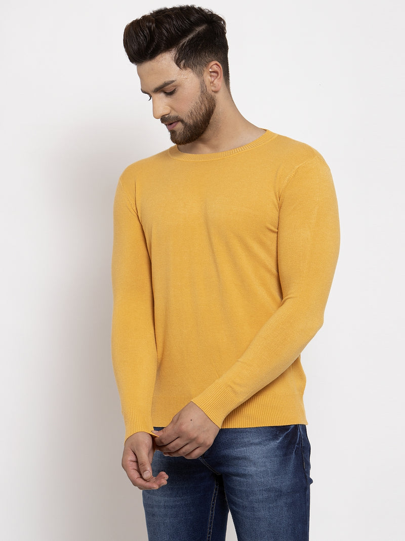 Men Mustard Solid Round Neck Pullover