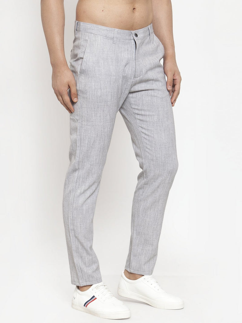 Mens Solid Textured Grey Polyester Trouser