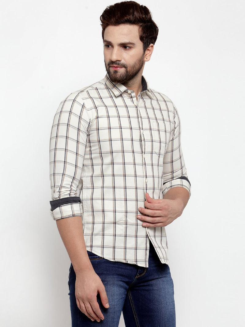 Men Beige Checked Regular Fitted Shirt