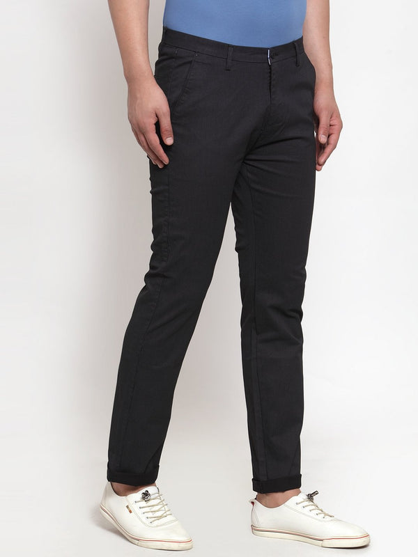 Mens Solid Black Cotton Trouser