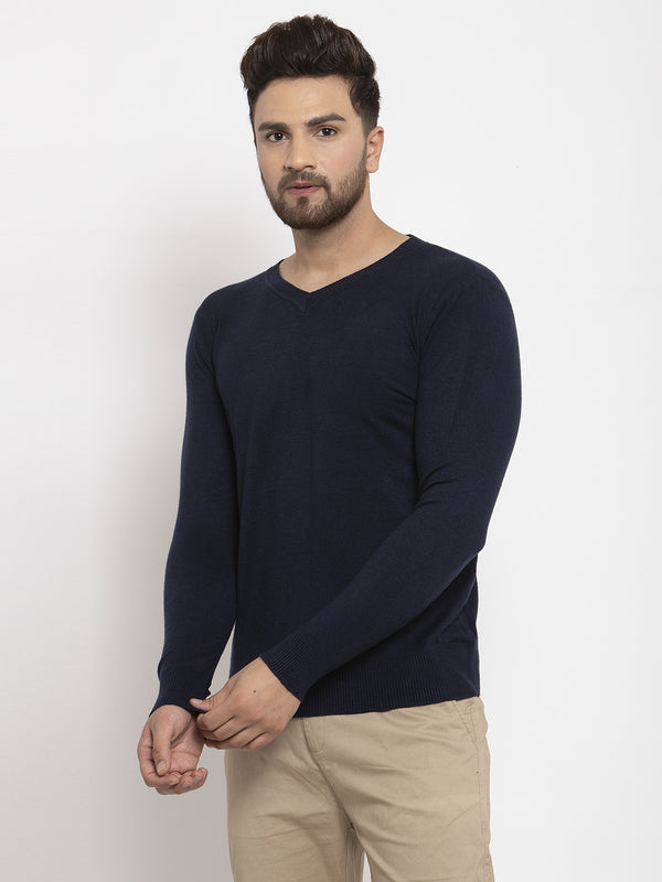 Men Navy Blue Solid V-Neck Pullover