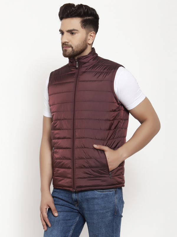 Mens Wine and Olive Reversible Solid Jacket