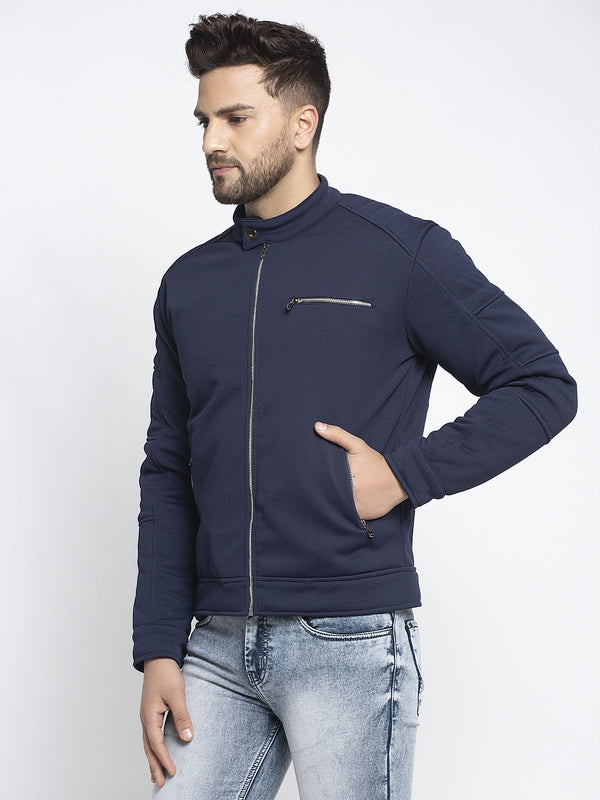 Men Navy Blue T-Neck Solid Jacket