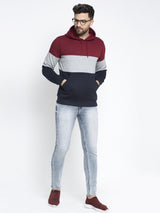 Men Multicolor Hoodie Sweatshirt with Front Pocket