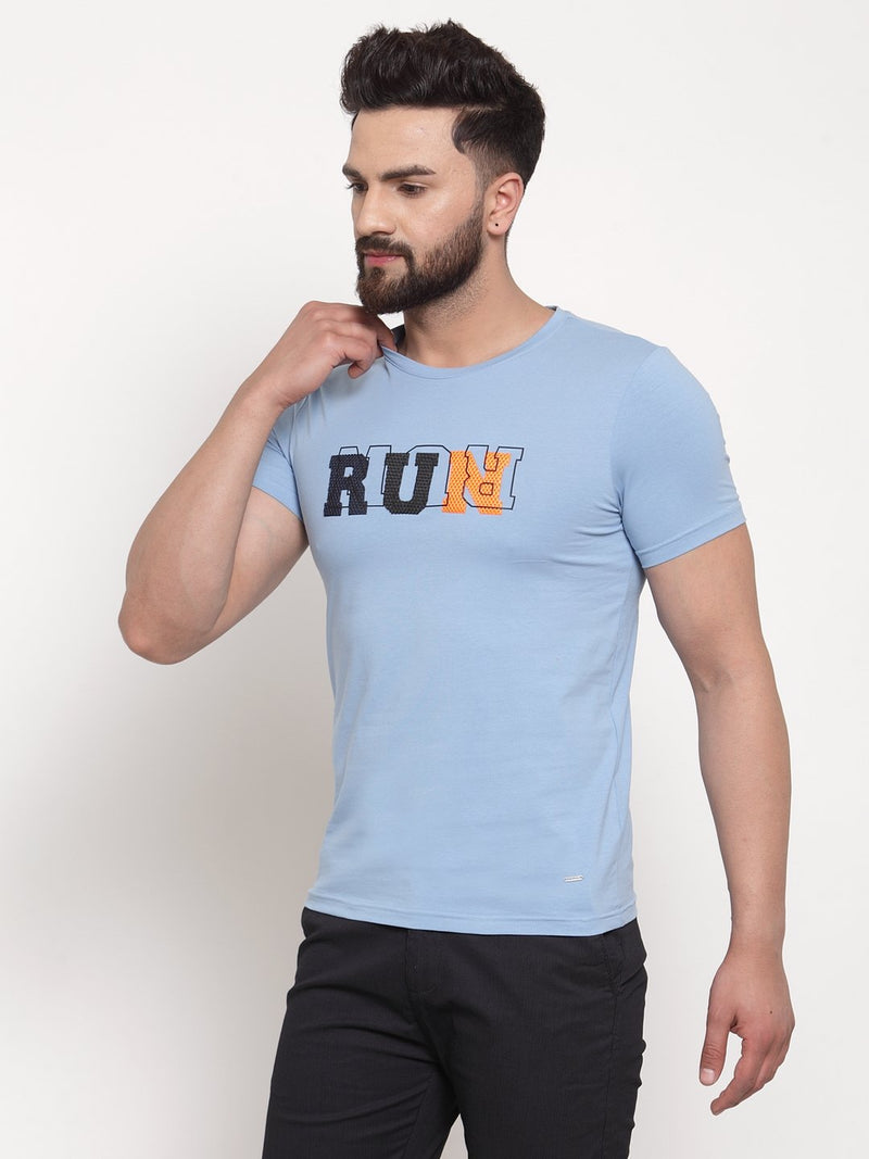 Men Run Printed Sky Blue Hosiery T-Shirt