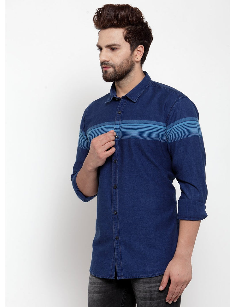 Men Blue Printed Denim Shirt