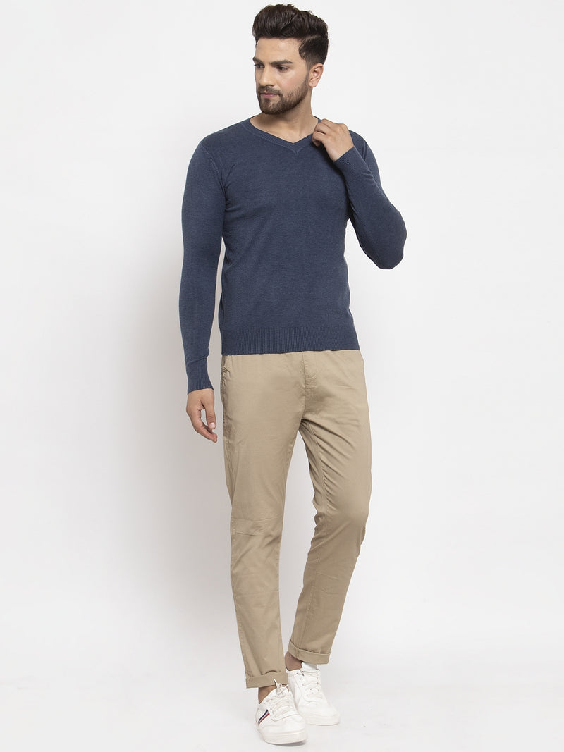Men Blue Solid V-Neck Pullover