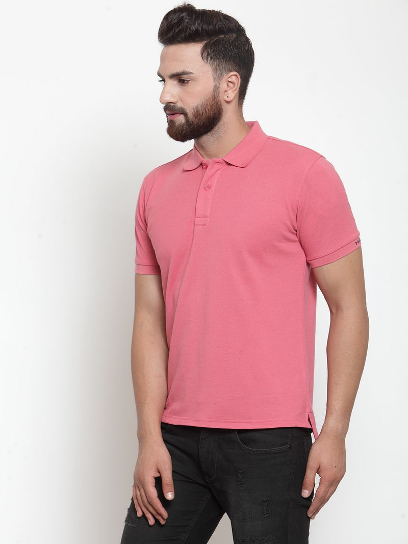 Mens Solid Pink Collar Regular Fit Polo T-Shirt